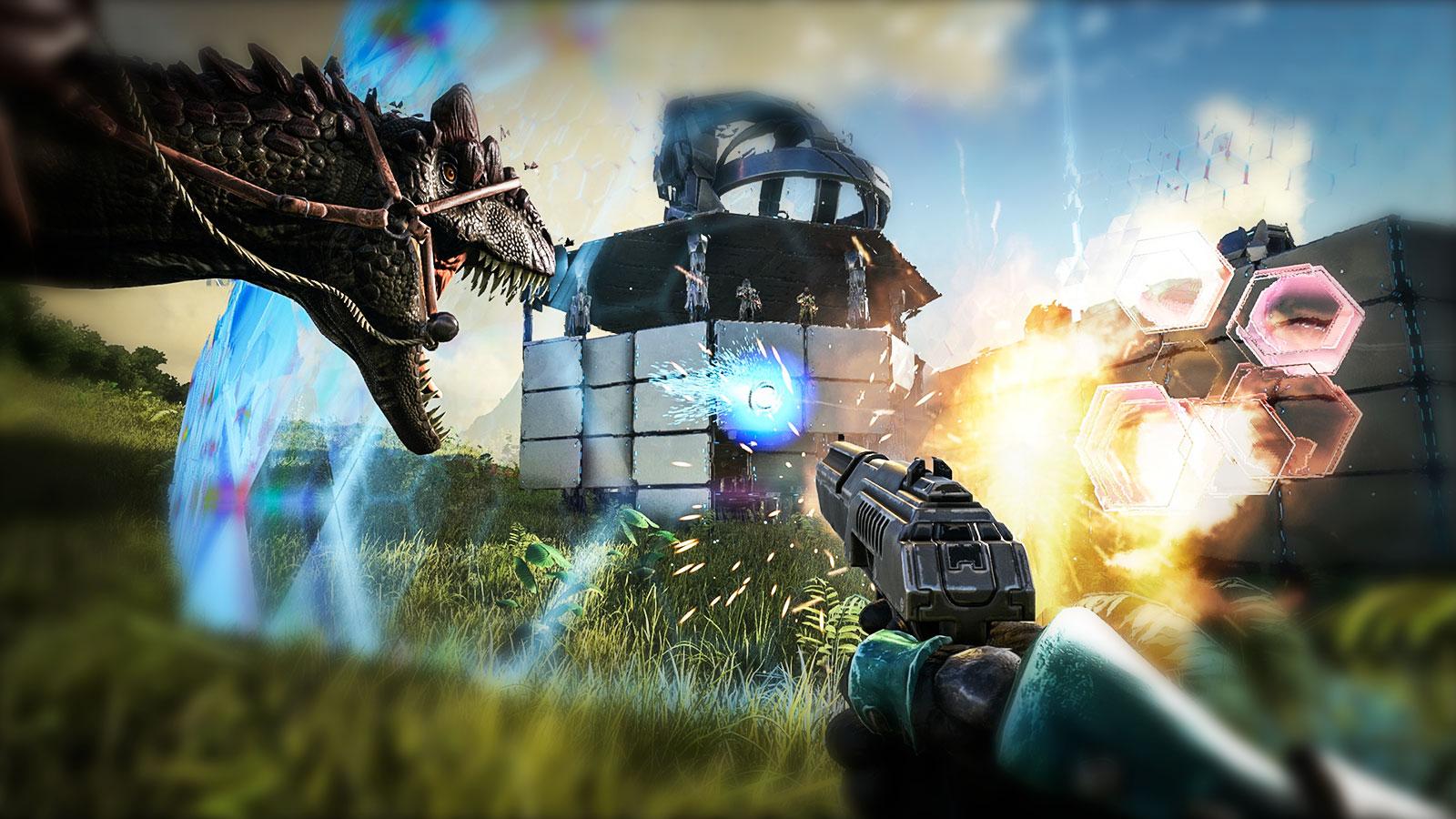 ARK: Survival Evolved спина к спине вместе с динозаврами