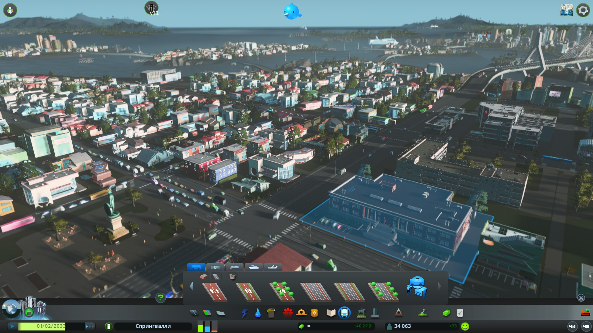 Днем город живет своей жизнью cities skyline